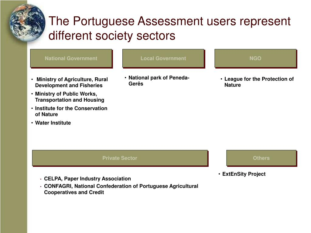 The Portuguese Assessment users represent different society sectors