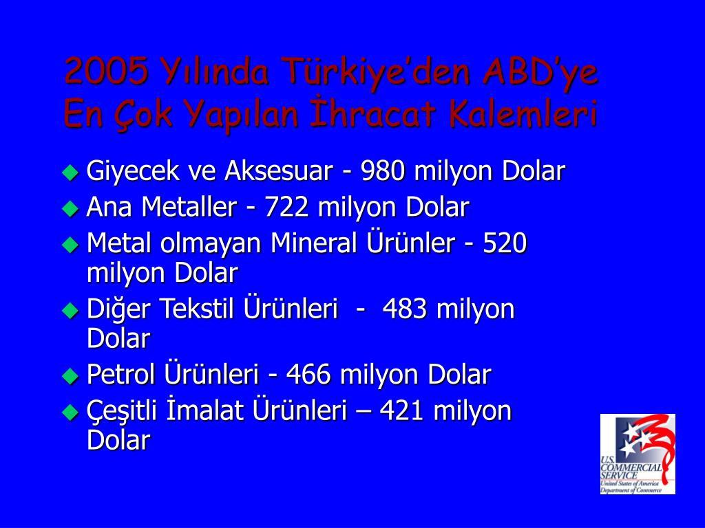 2005 Yılında Türkiye'den ABD'ye En Çok Yapılan İhracat Kalemleri