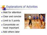 explanations of activities