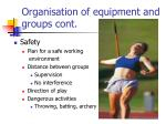 organisation of equipment and groups cont8
