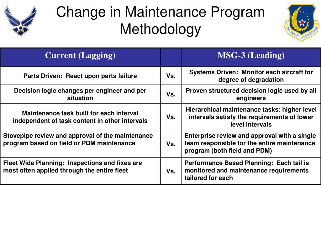 Change in Maintenance Program Methodology