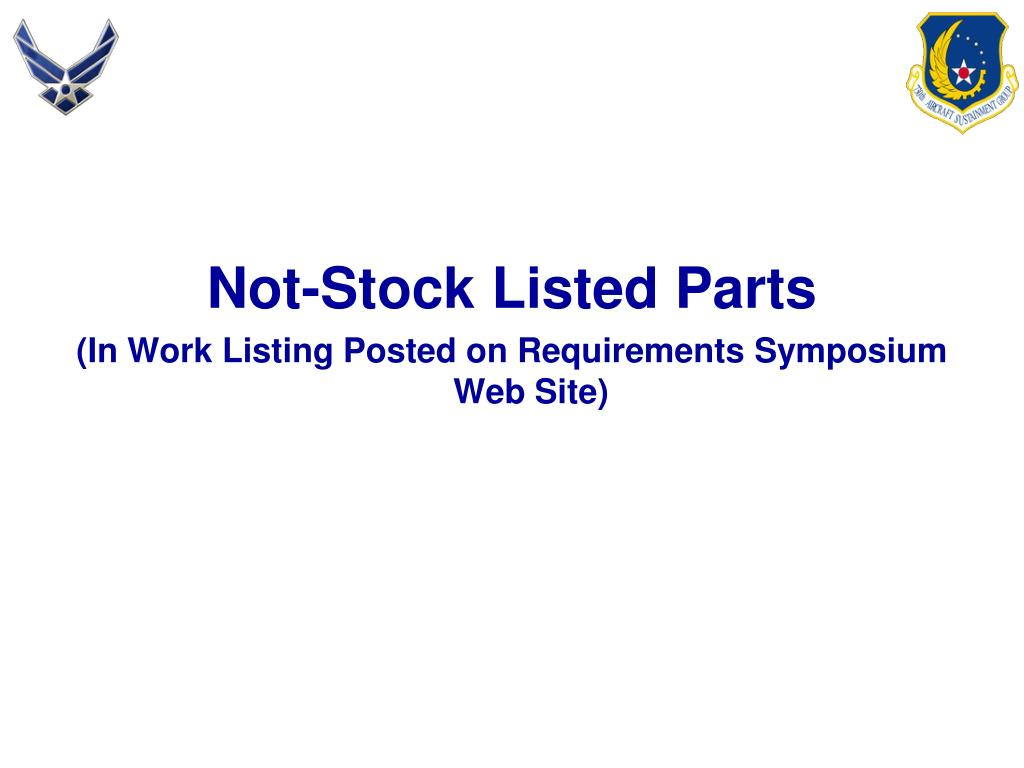 Not-Stock Listed Parts