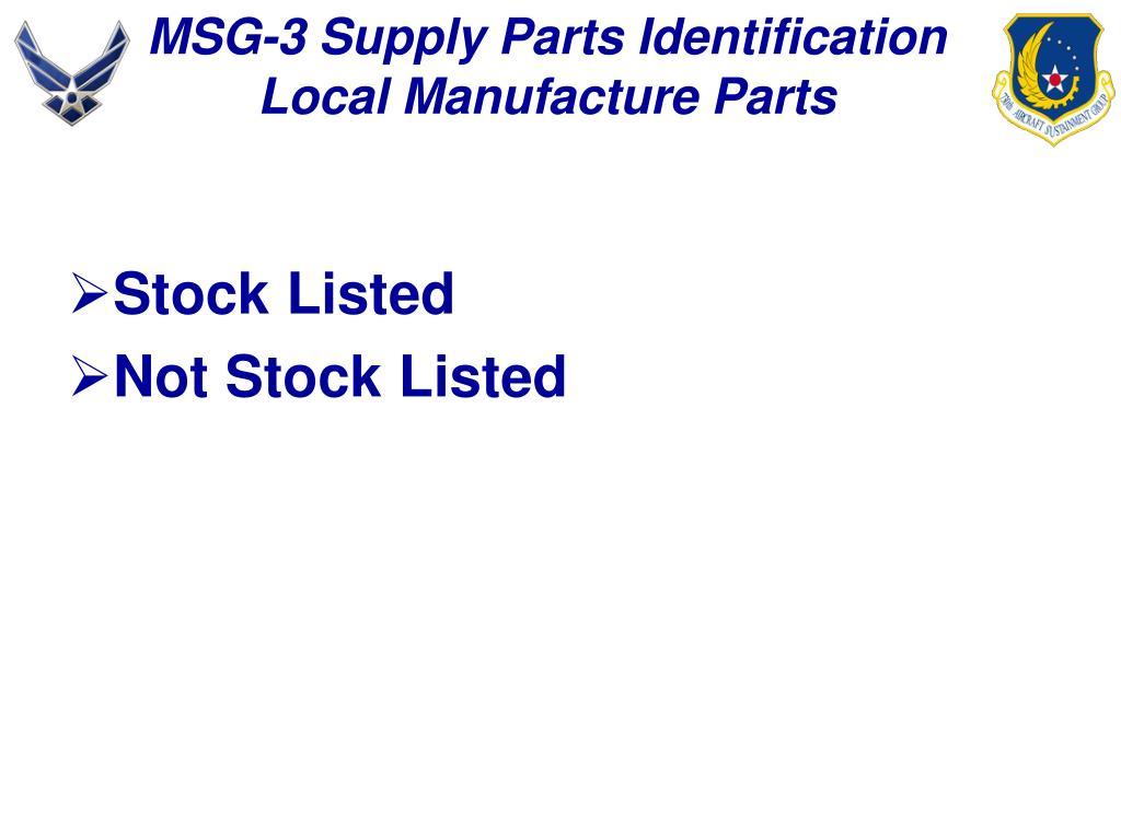 MSG-3 Supply Parts Identification