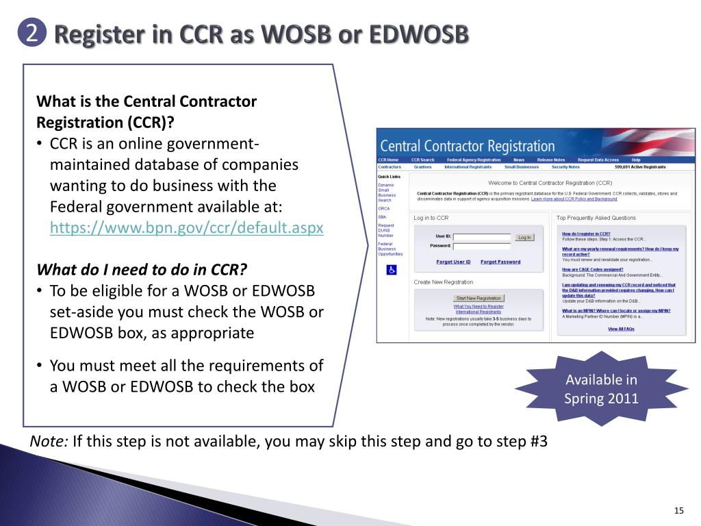 Register in CCR as WOSB or EDWOSB