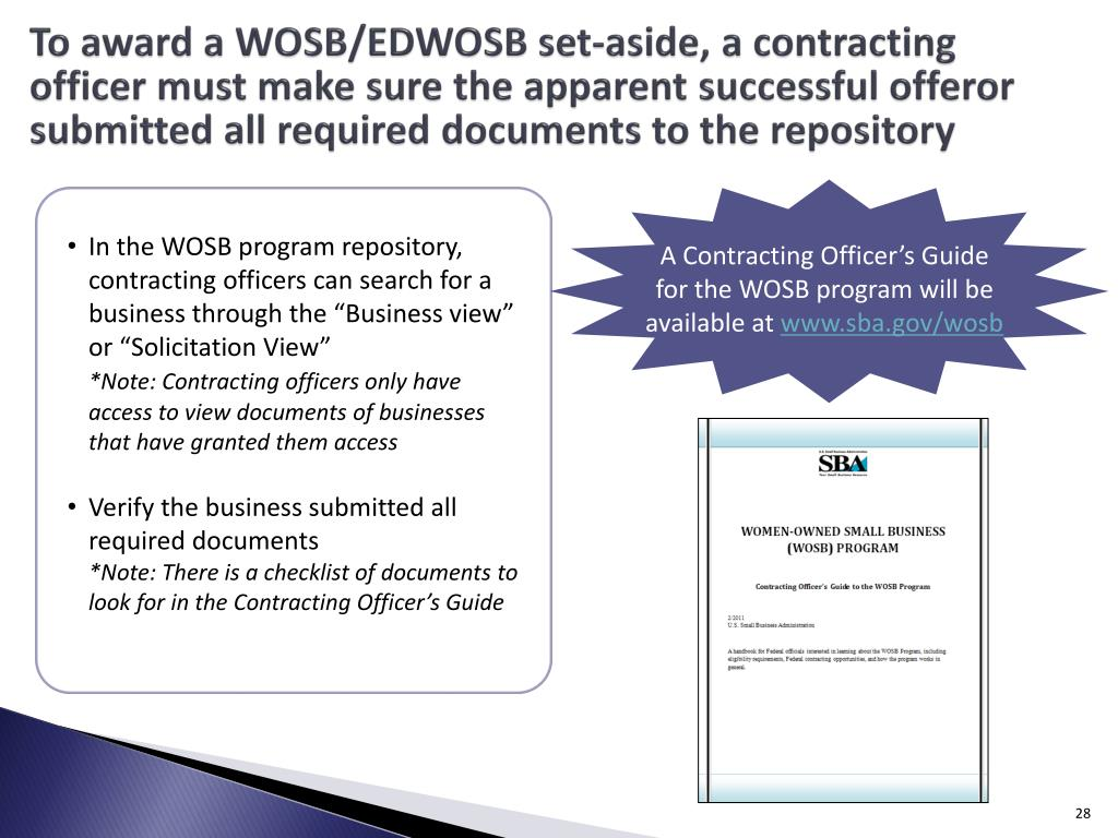 To award a WOSB/EDWOSB set-aside, a contracting officer must make sure the apparent successful offeror submitted all required documents to the repository