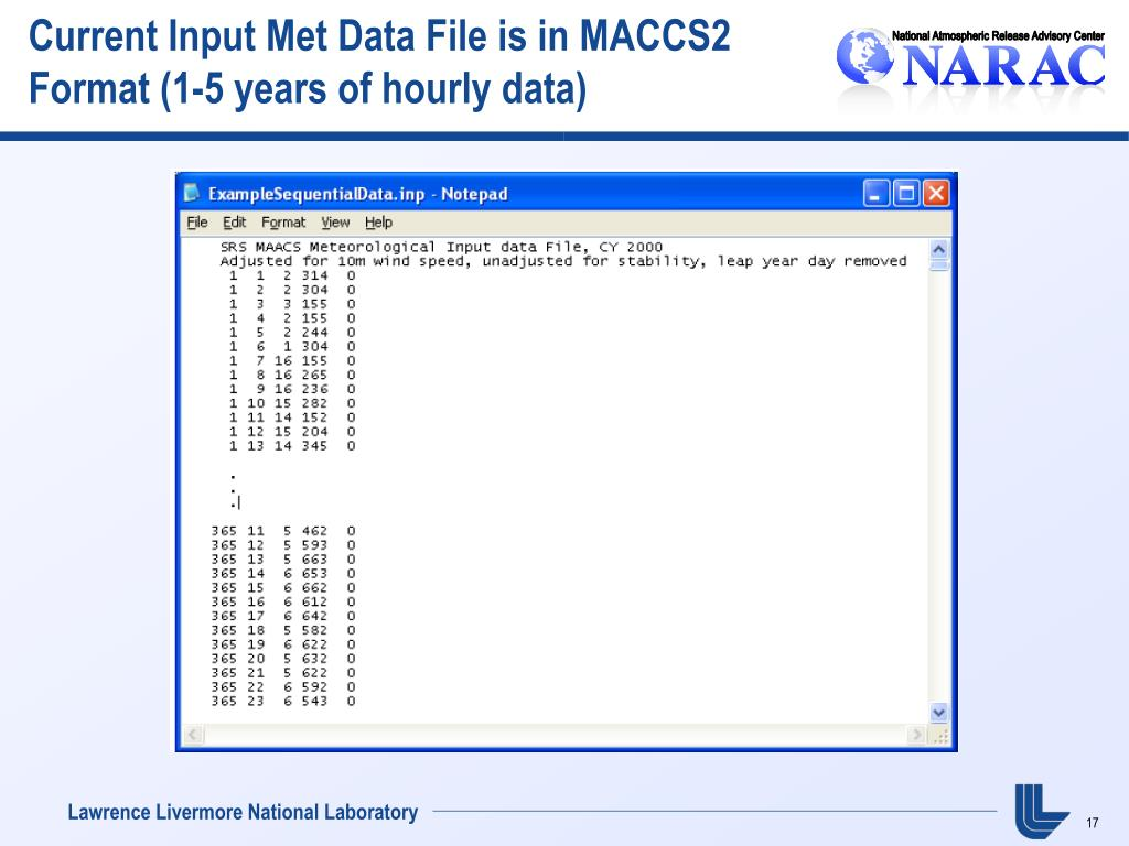 Current Input Met Data File is in MACCS2