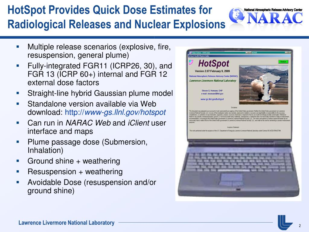 HotSpot Provides Quick Dose Estimates for Radiological Releases and Nuclear Explosions