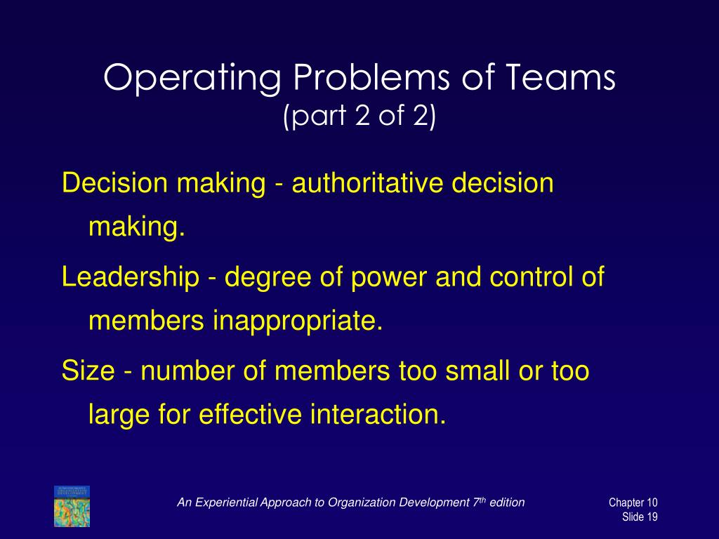 Operating Problems of Teams