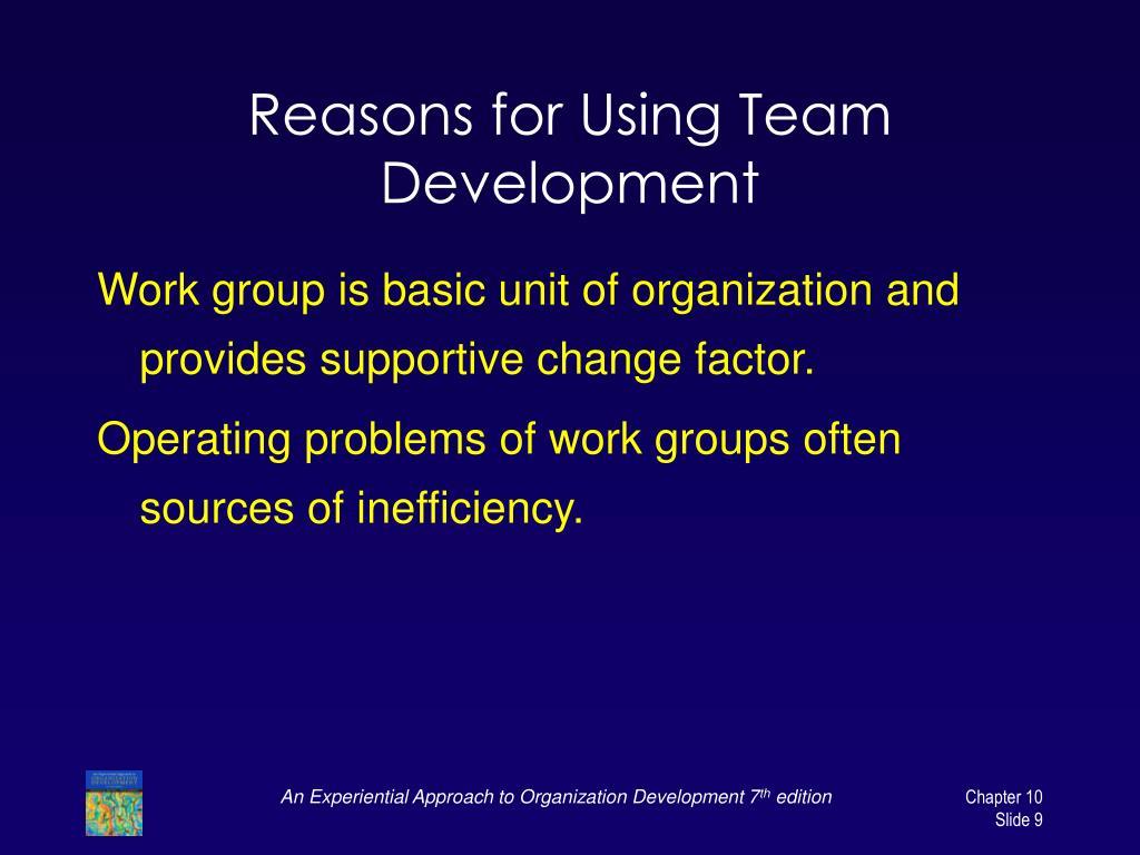 Reasons for Using Team Development