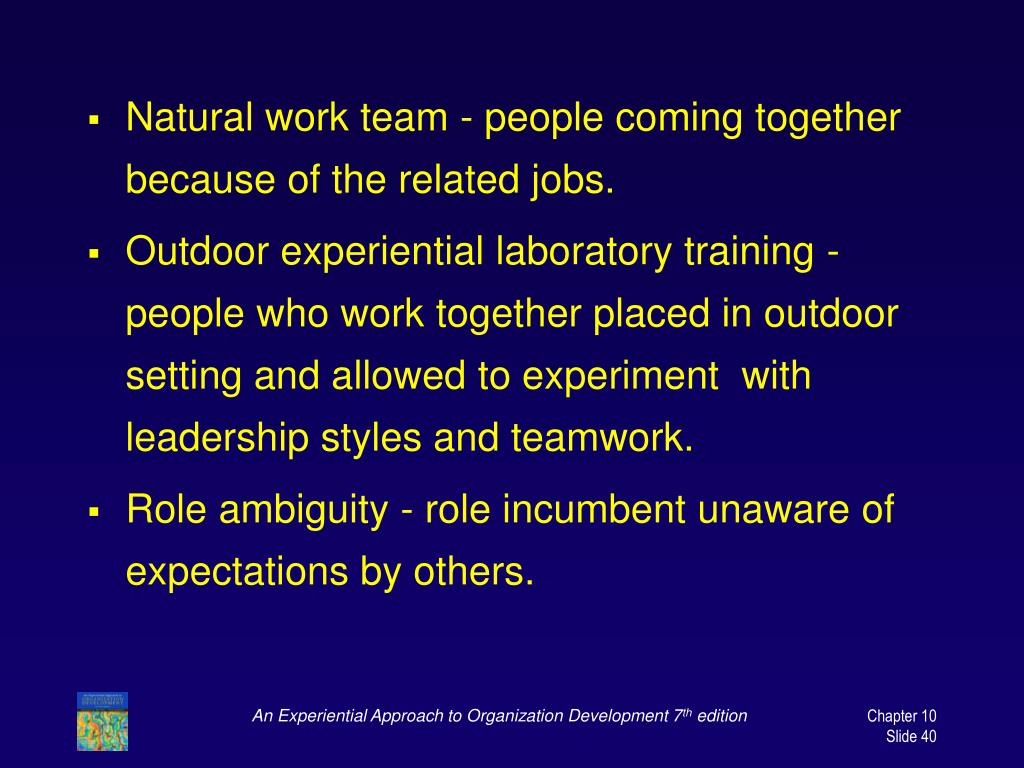 Natural work team - people coming together because of the related jobs.