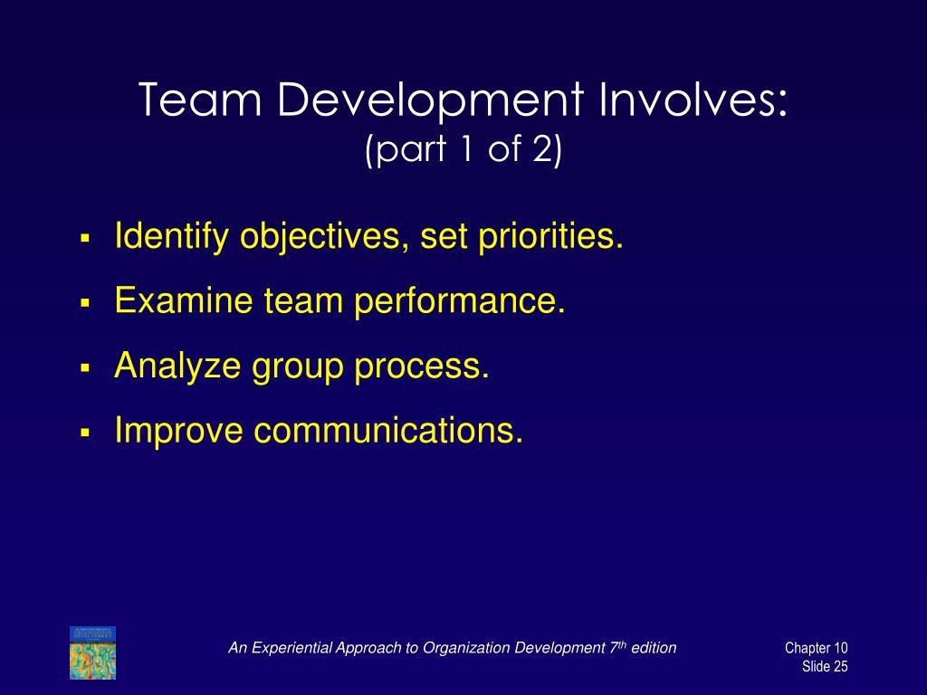 Team Development Involves: