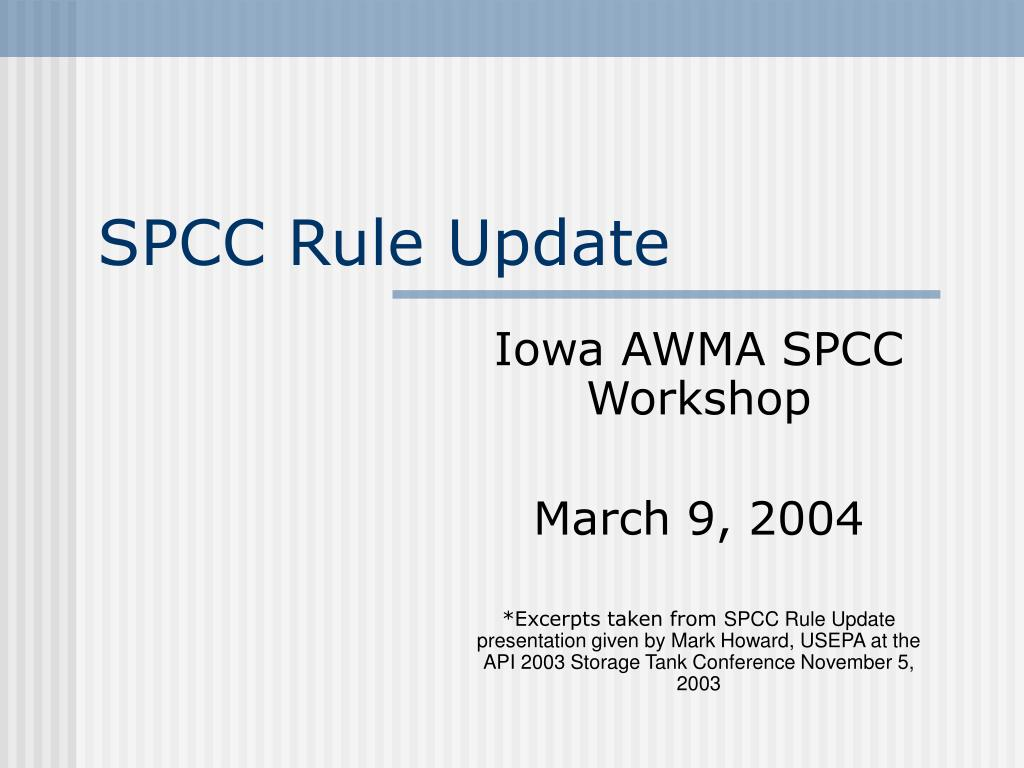 spcc rule update