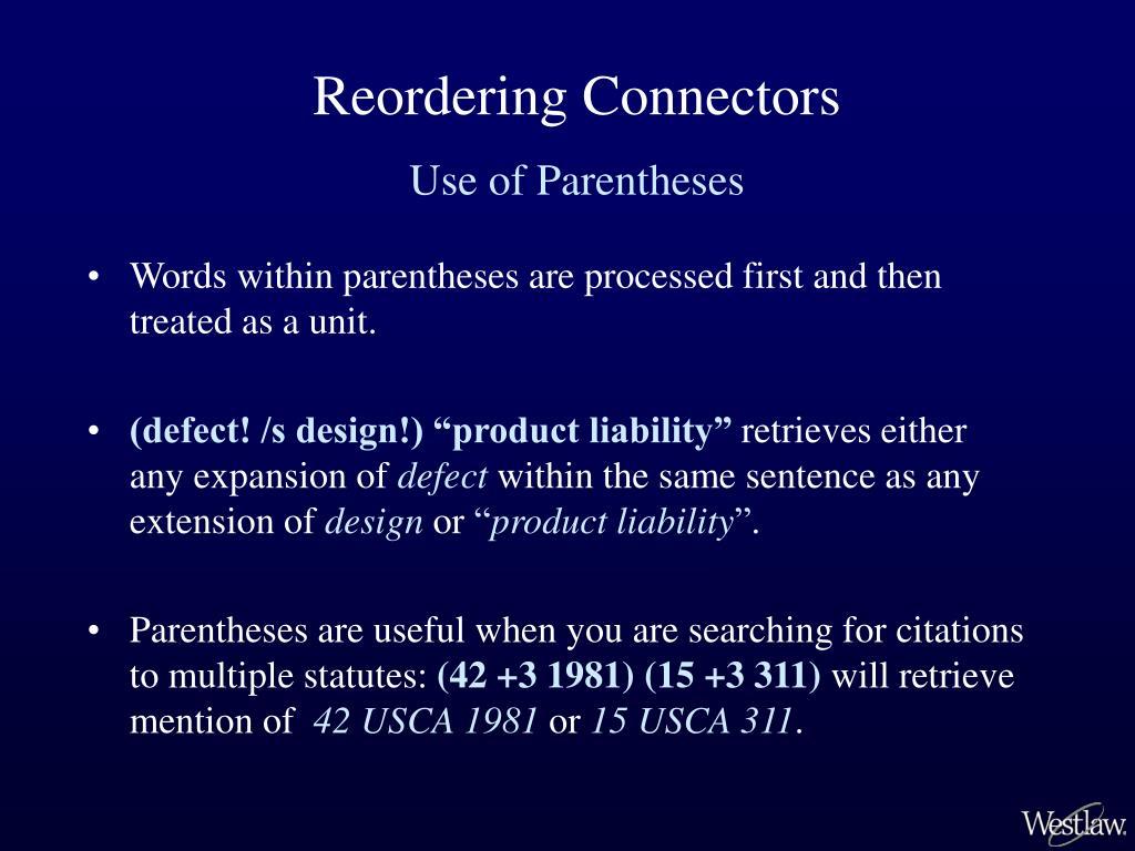 Reordering Connectors