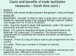 costs and benefits of trade facilitation measures south asia cont
