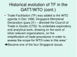 historical evolution of tf in the gatt wto cont18