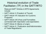 historical evolution of trade facilitation tf in the gatt wto