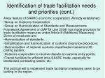 identification of trade facilitation needs and priorities cont