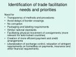 identification of trade facilitation needs and priorities