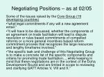 negotiating positions as at 02 0527