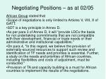 negotiating positions as at 02 0528