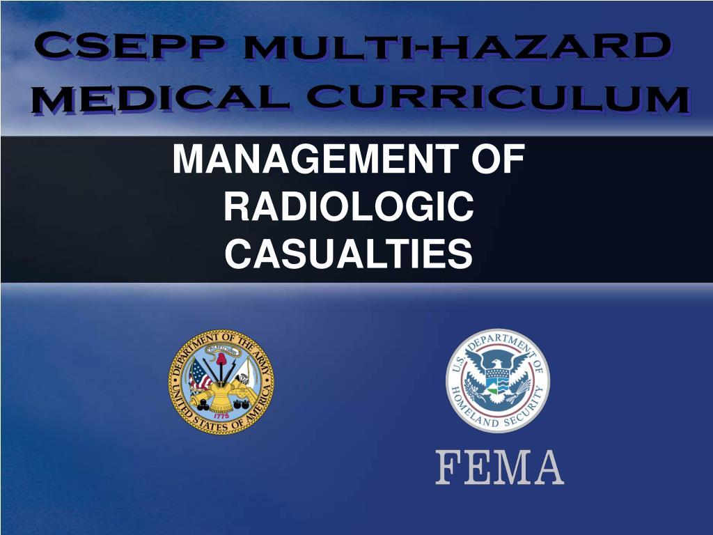 management of radiologic casualties l.