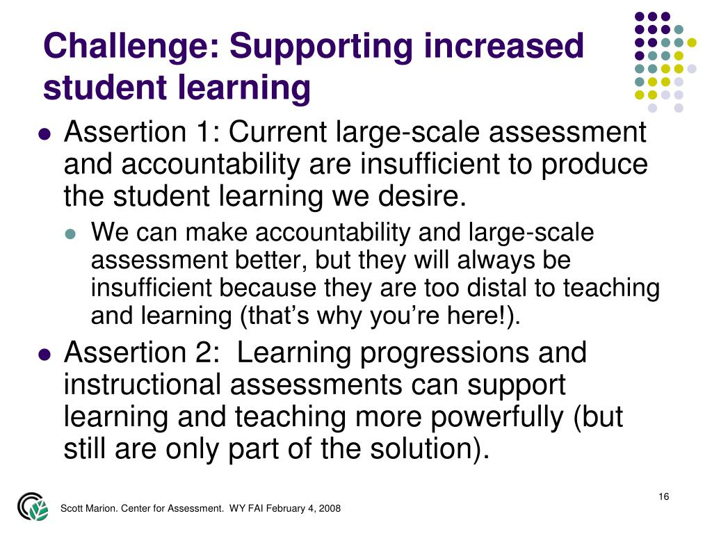 Challenge: Supporting increased student learning