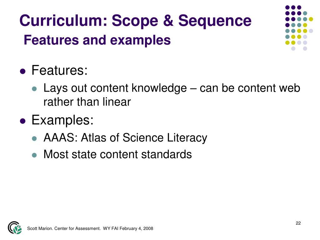 Curriculum: Scope & Sequence