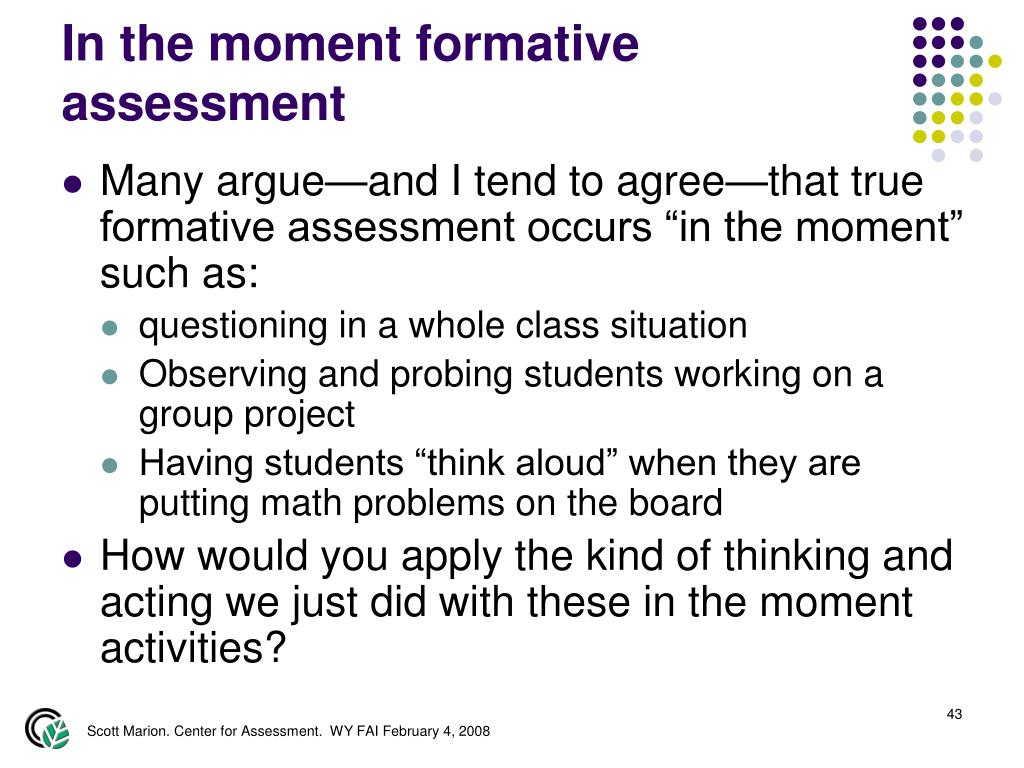 In the moment formative assessment