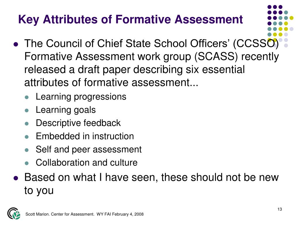 Key Attributes of Formative Assessment
