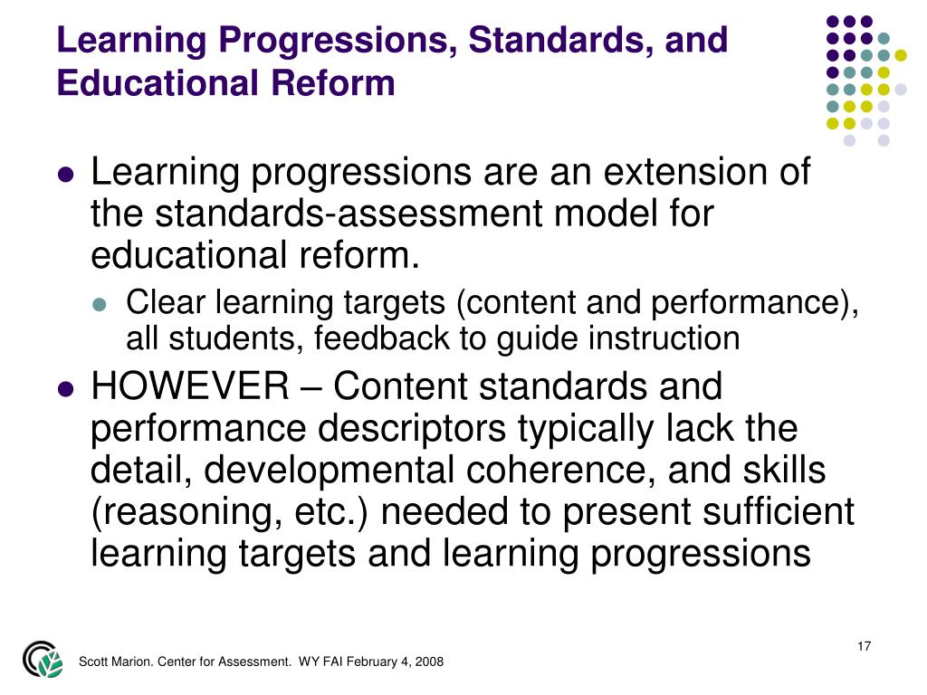 Learning Progressions, Standards, and Educational Reform