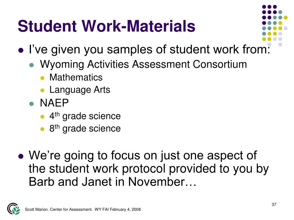 Student Work-Materials