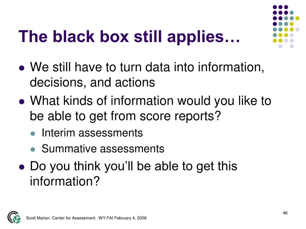 The black box still applies…