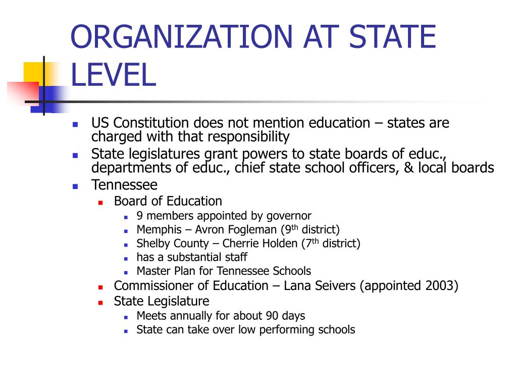 ORGANIZATION AT STATE LEVEL