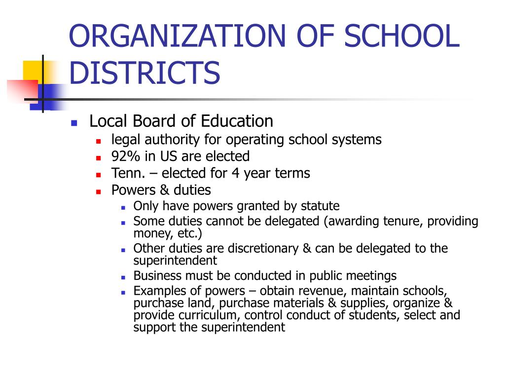 ORGANIZATION OF SCHOOL DISTRICTS