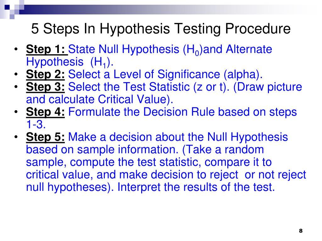 5 Steps In Hypothesis Testing Procedure