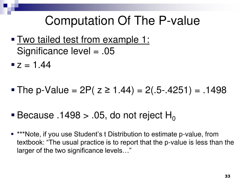 Computation Of The P-value