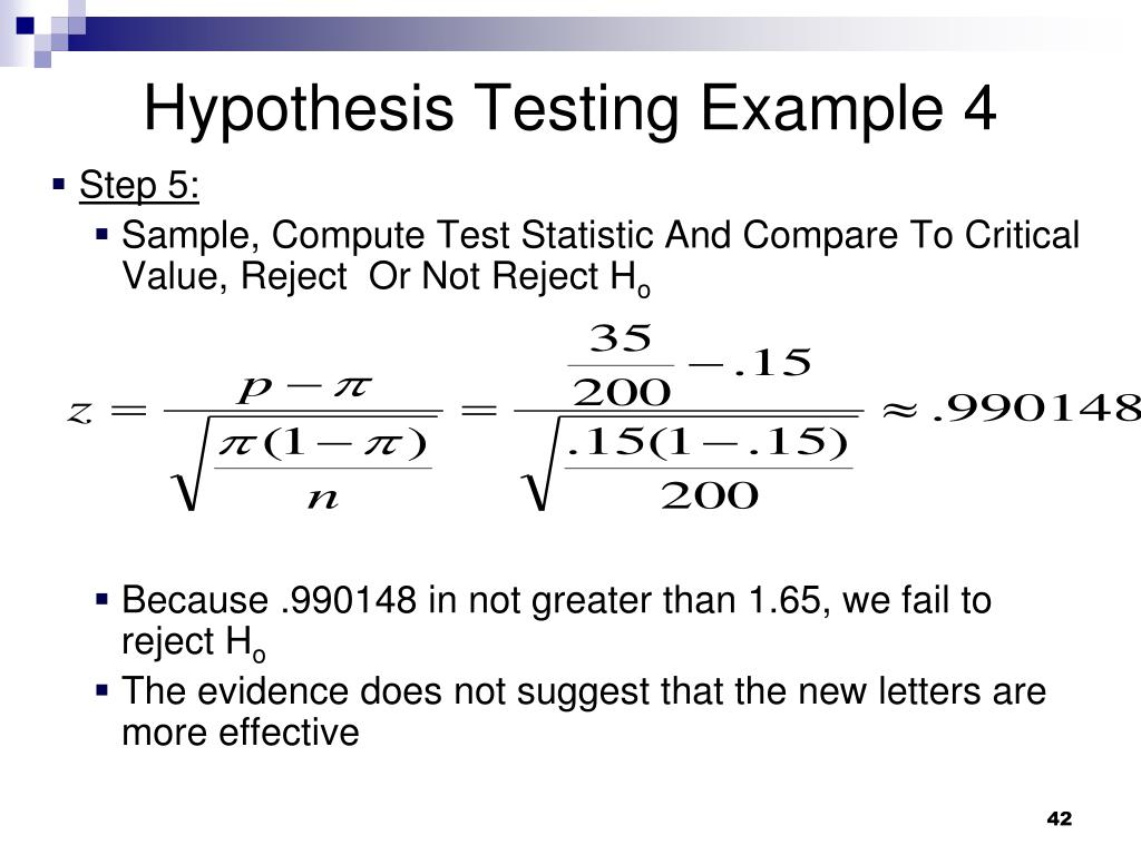 Hypothesis Testing Example 4