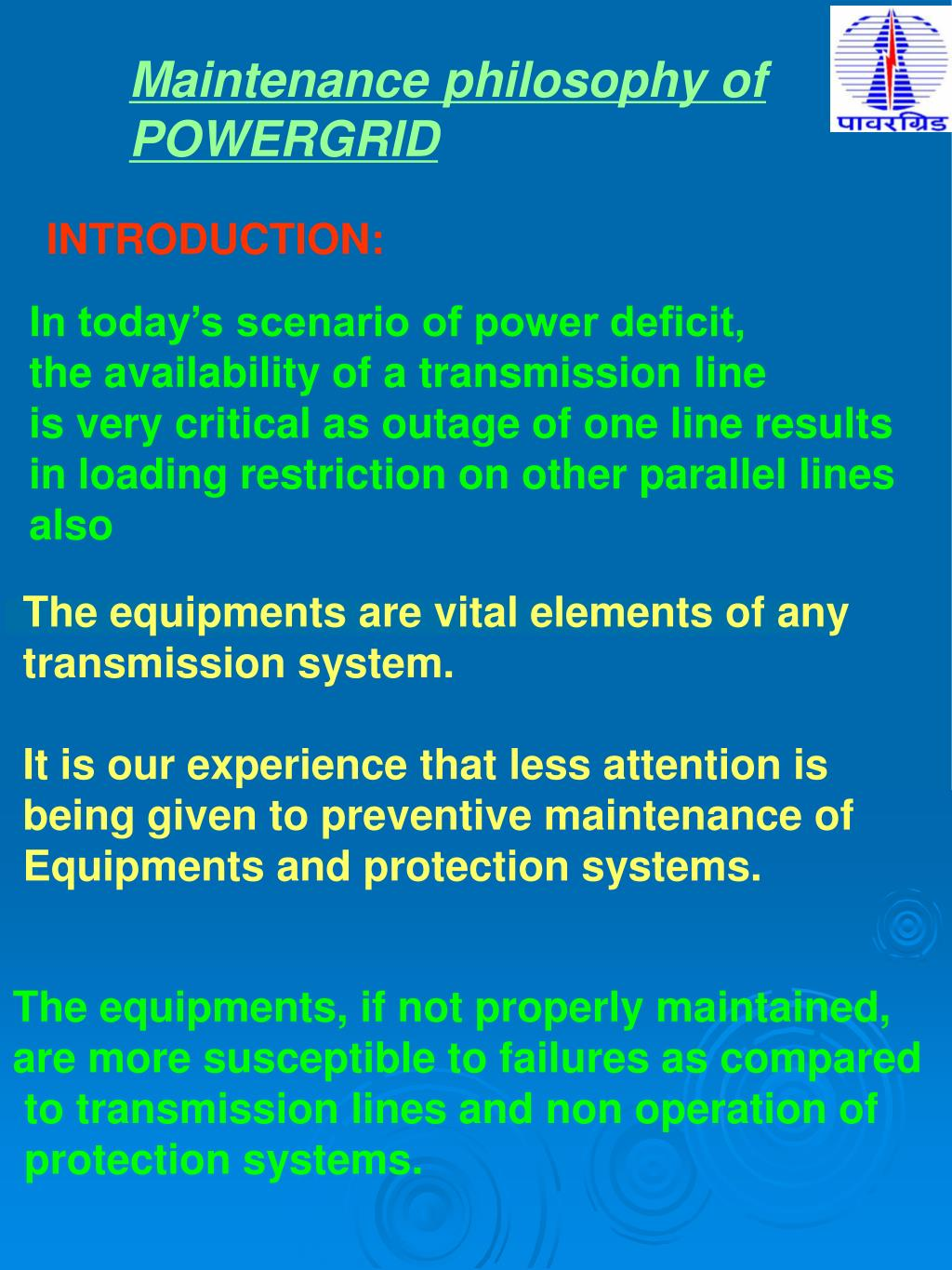 PPT - Maintenance philosophy of POWERGRID PowerPoint