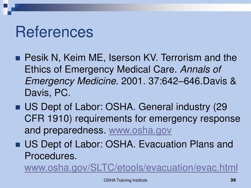 PPT - OSHA Regulations & Legal Issues for Evacuation of