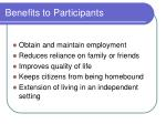 benefits to participants
