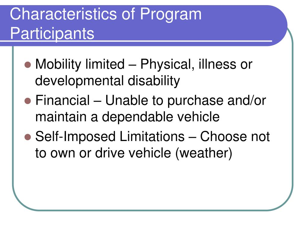 Characteristics of Program Participants