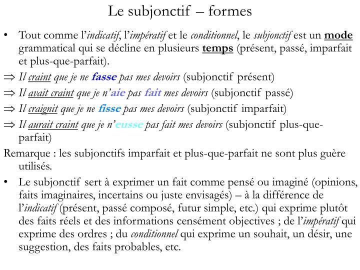 Le subjonctif formes