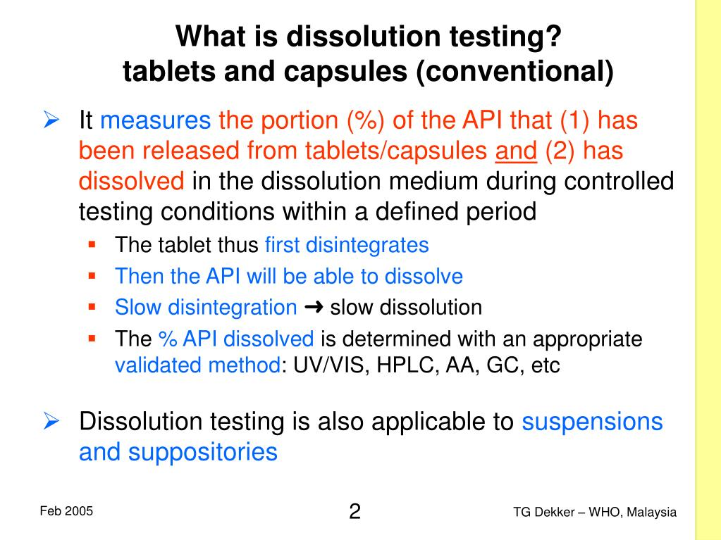 What is dissolution testing?