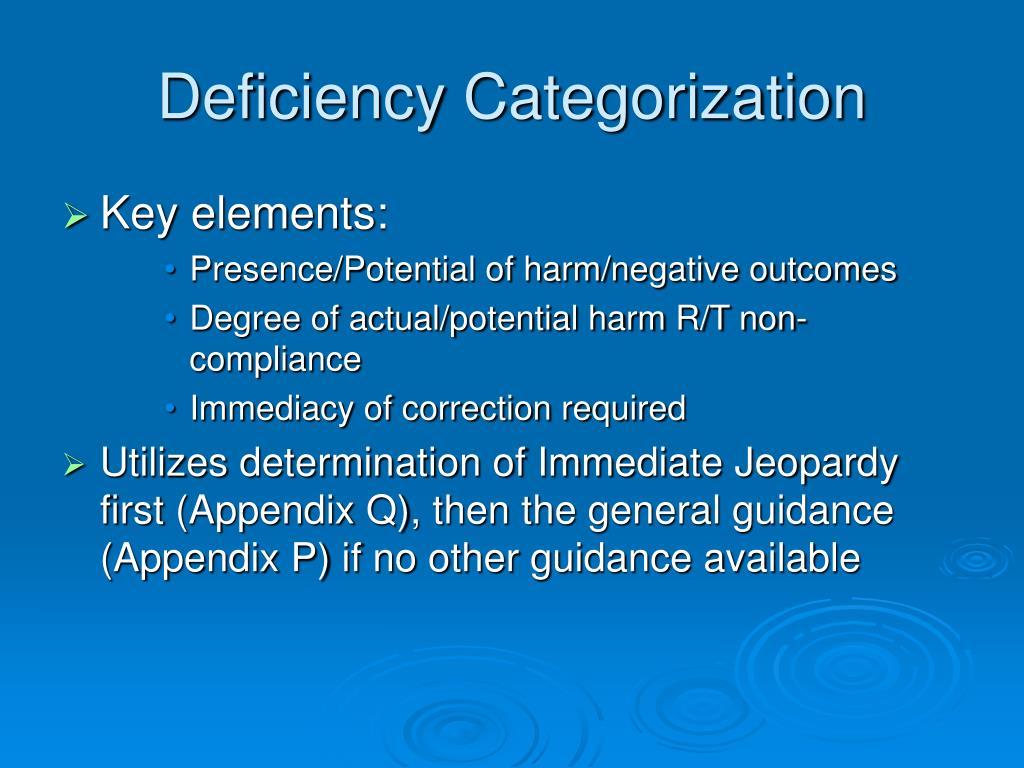 Deficiency Categorization