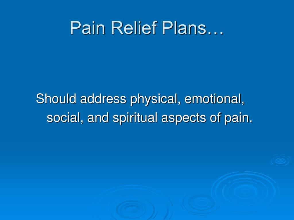 Pain Relief Plans…