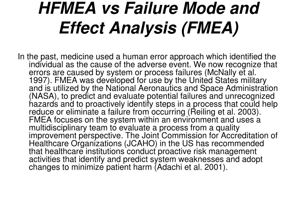 HFMEA vs Failure Mode and Effect Analysis (FMEA)