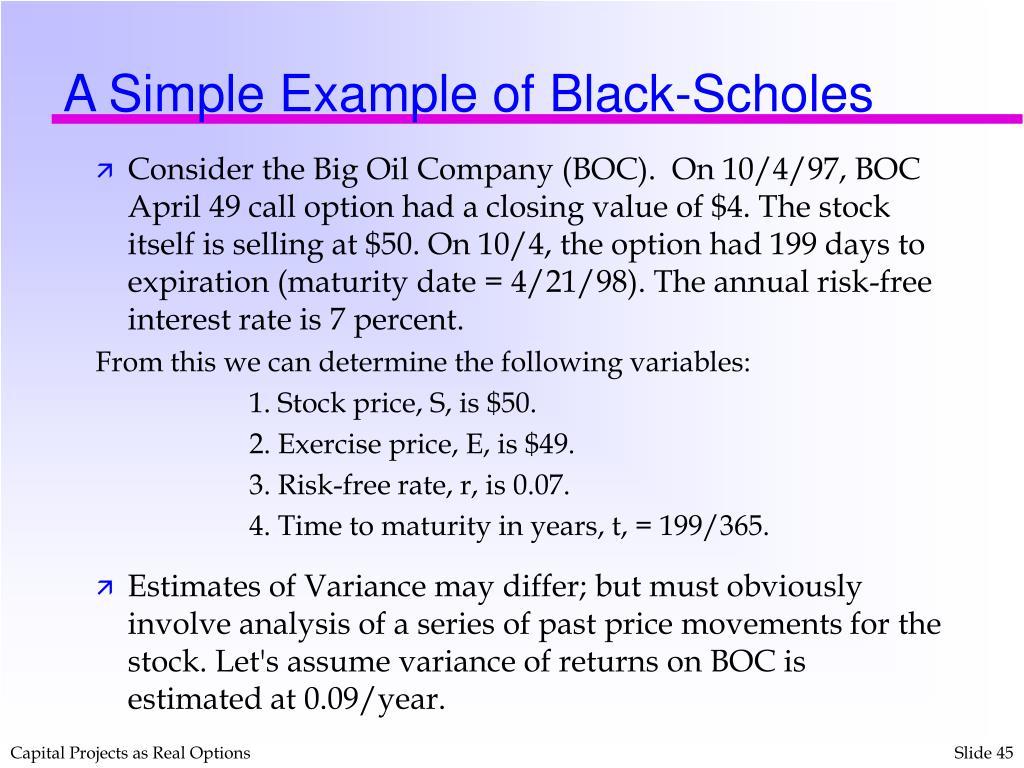 A Simple Example of Black-Scholes