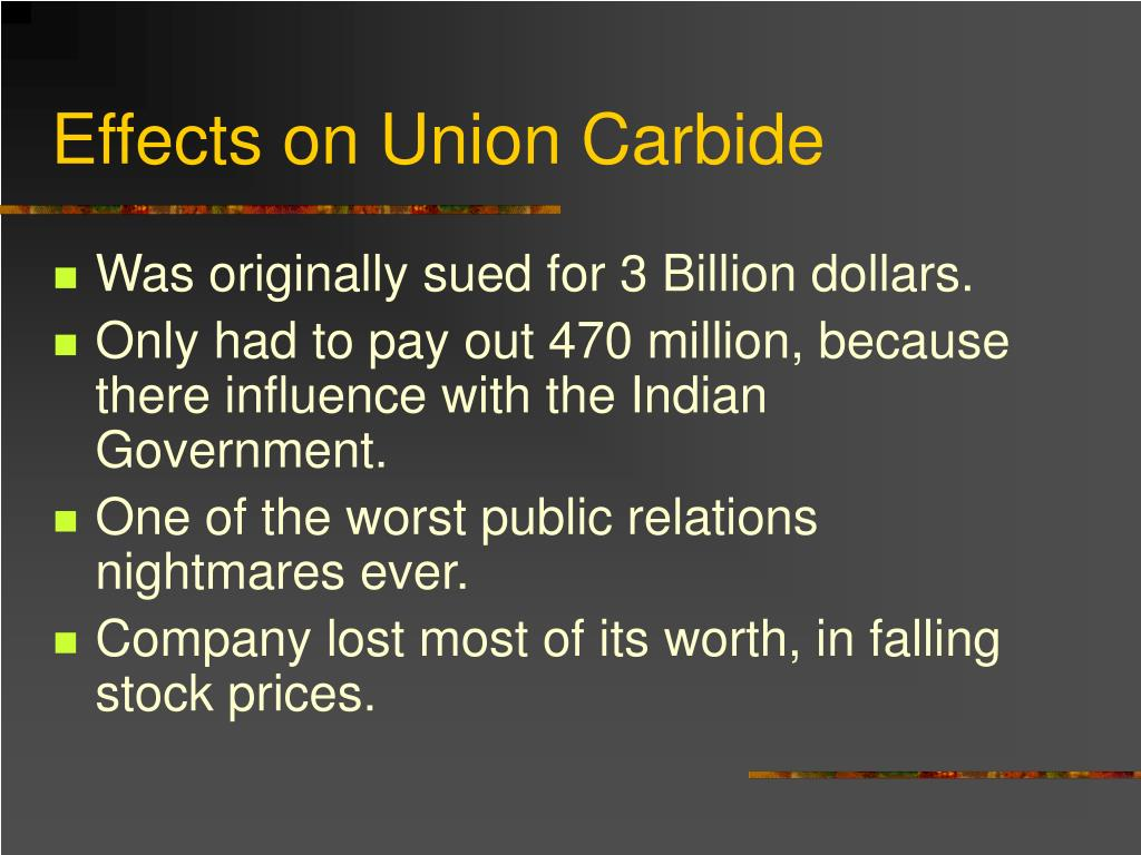 Effects on Union Carbide