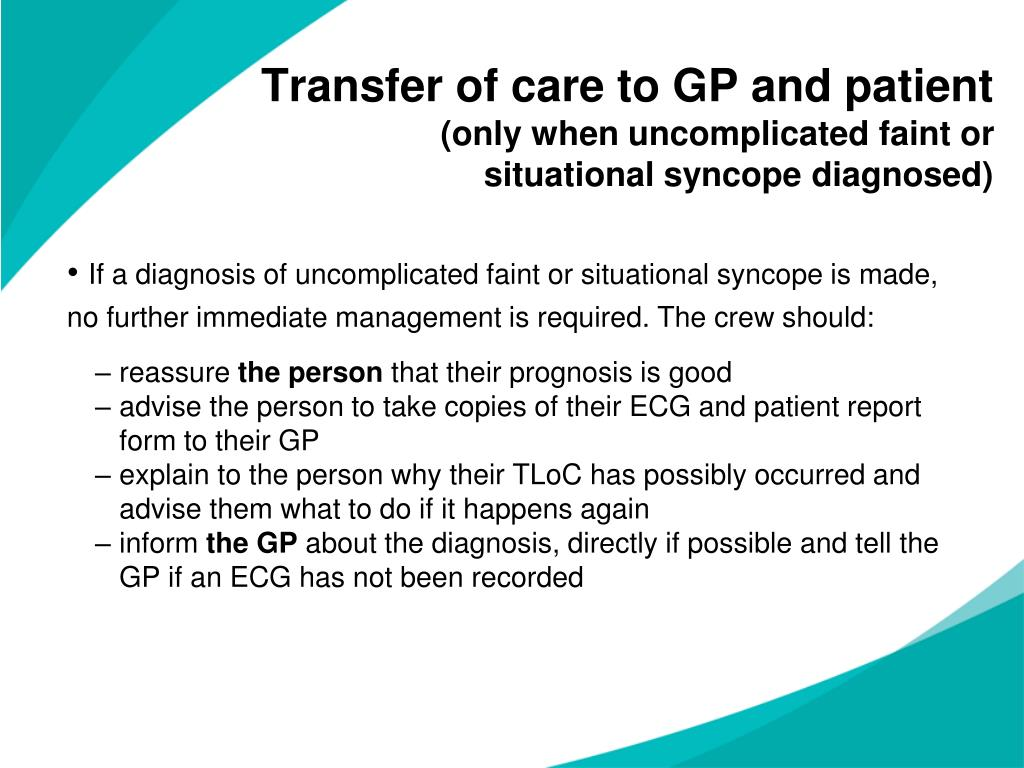 Transfer of care to GP and patient