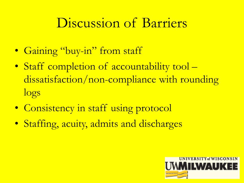 Discussion of Barriers
